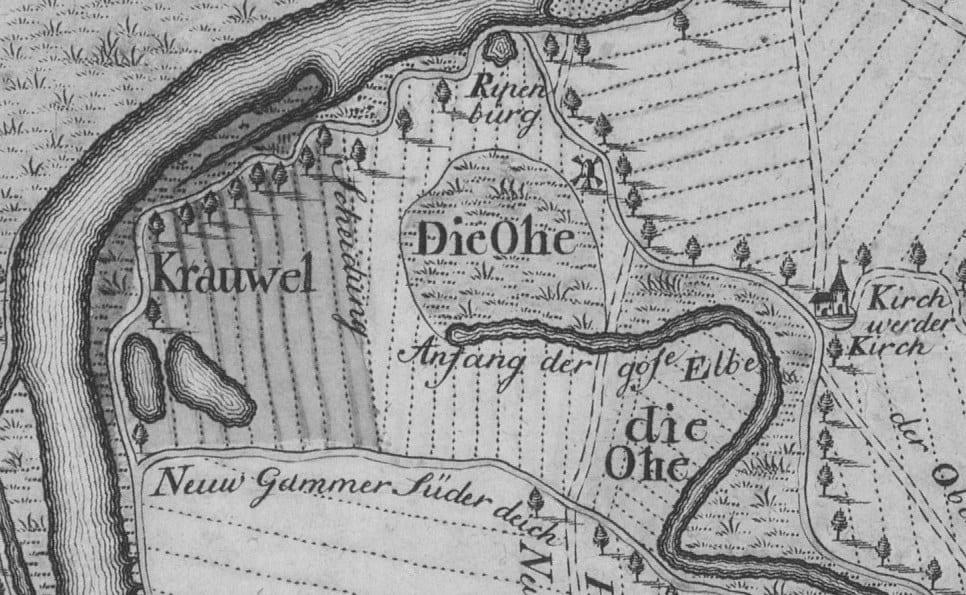 Hof Eggers - Karte von 1773 - Die Ohe, der Krauel und die Riepenburg