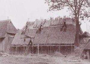 Hof Eggers - Geschichte - Reet-Dachdecker bei der Arbeit am alten Schweinestall
