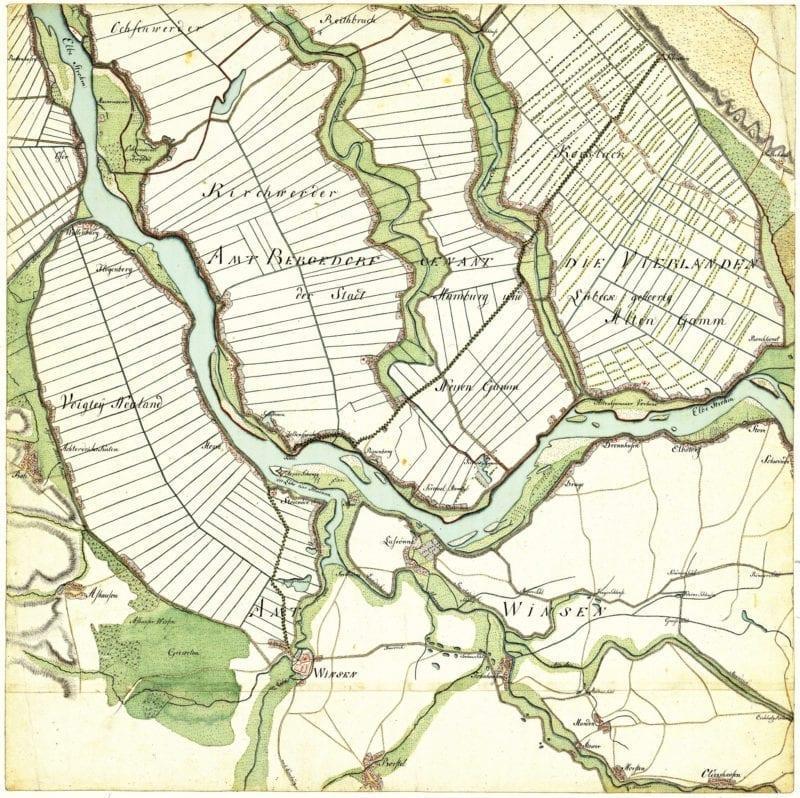 Hof Eggers - Alte Karte Vierlande und Winsen von 1790
